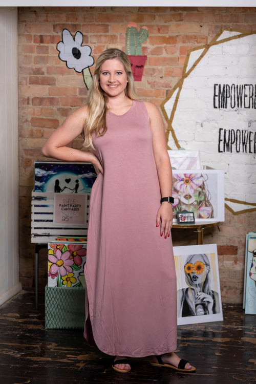 Sleeveless Maxi Dress, Light Rose