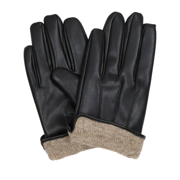 Men's Black Cashmere Lined Leather PU Gloves