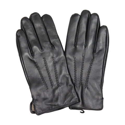 Men's Black Leather Cashmere Gloves