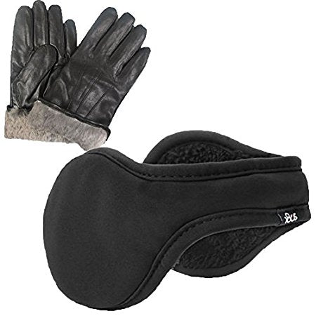 Men's Rabbit Fur Lined Genuine Black Leather Gloves 180s Ear Warmer Set
