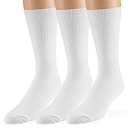 Men's 3pk Black crew cotton dress sock