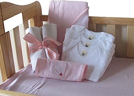 Girl Baby Shower decoration Includes Crib Sheet, body suit,daipers and matching Blanket with Bib