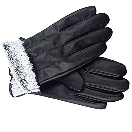 Mens Black PU leather gloves Insulated windproof Fur Lined