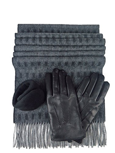 Men's Black Leather Glove With Rabbit Fur 100% Cashmere Scarf & 180s Ear Warmer Set