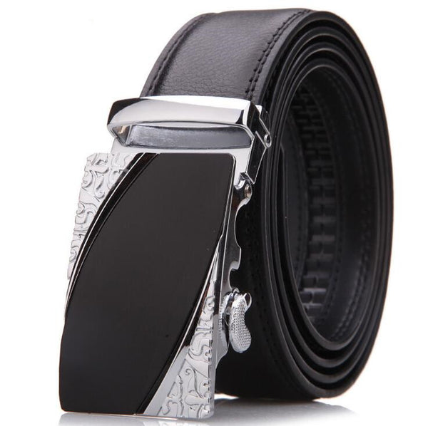 Men's Leather Ratchet Dress Adjustable Belt with Automatic Buckle Track Belt (up to 42 in.)