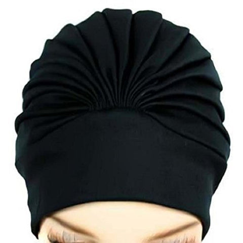Great For Swimming,Polyester Latex Lined Pleated Women's Swim Bathing Turban
