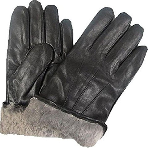 Top Quality Men's Rabbit Fur Lined Genuine Soft Black Leather Gloves