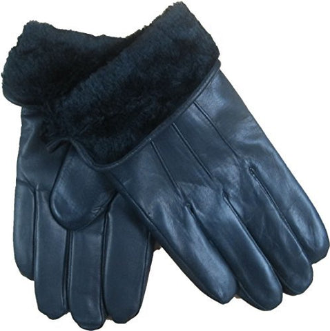 Bon Bonito Mens Fake Fur Lined Genuine Soft Black Leather Gloves