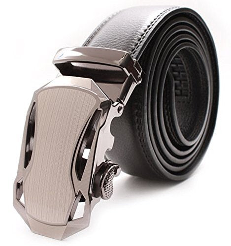 Elegant and Casual Men's Leather Belt Sliding Buckle Ratchet Belt Black Available in 11 Designs