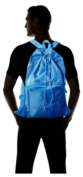 Mesh Beach Bags, Equipment Drawstring With Shoulder Straps For Swimming.