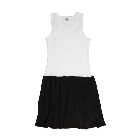 Rosette Girls Full Slip black and white