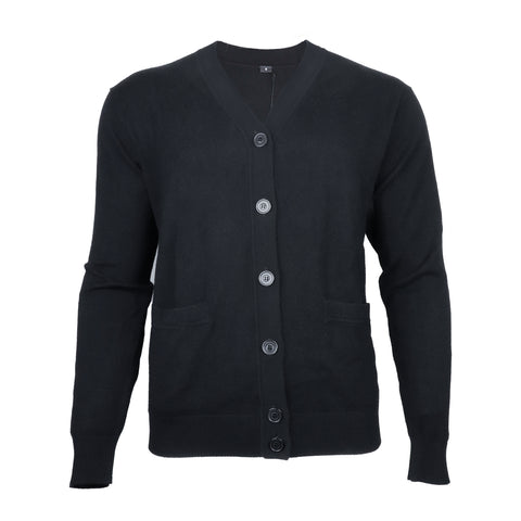 Men's Solid Black Button Sweater
