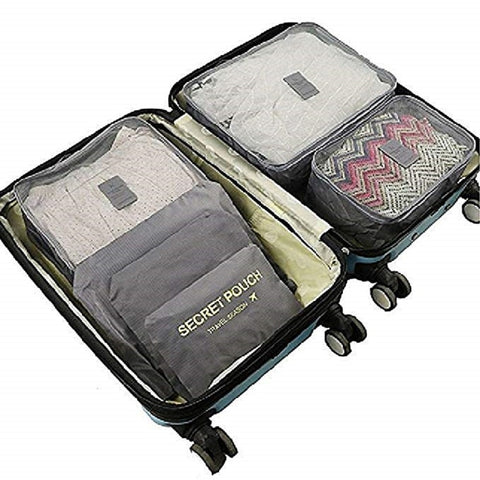 Packing Cubes 6 Piece Set Fits in Travel Carry On Luggage Compressible Organizer
