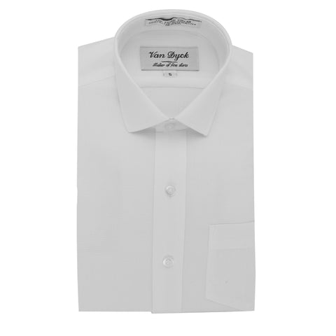 White Shirts For Boys Van Dyck White/White Short Sleeve Dress Shirt