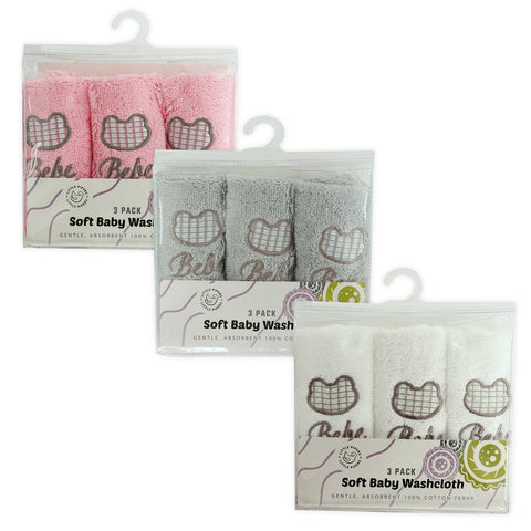 Soft Baby Wash Cloths 3 Pack