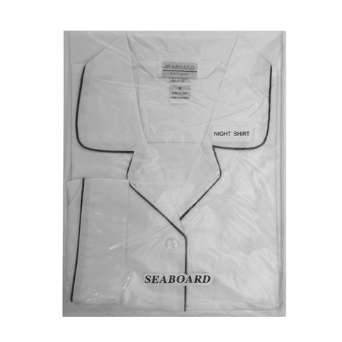 Seaboard White Cotton Mens Nightshirt