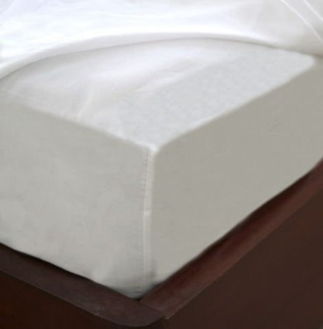 wrinkle free, pimple free, White Cotton Blend Fitted Sheet Easy Care & Soft