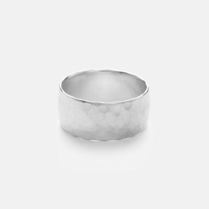 Wide Hammered Ring, Sterling Silver