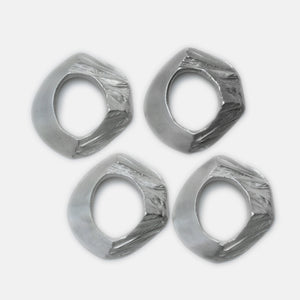 Glacier Napkin Rings, Silver - set of 4