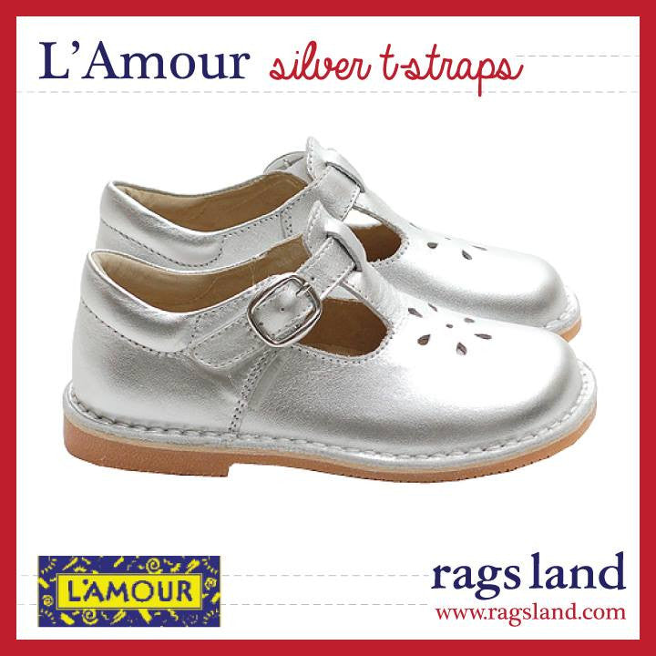 L'Amour Festive Leather T-Strap Shoes