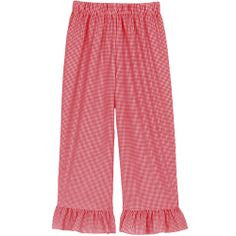 Red Classic Checks Ruffle Pants
