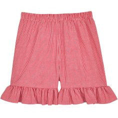 Red Classic Checks Ruffle Shorts