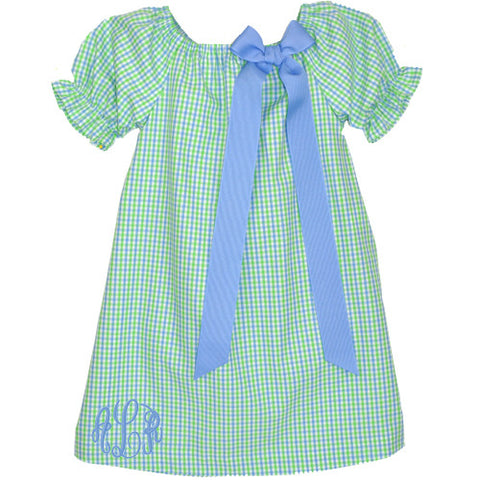 Blue/Lime Checks Puff Sleeve Peasant Dress