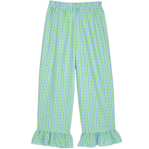 Blue/Lime Checks Ruffle Pants