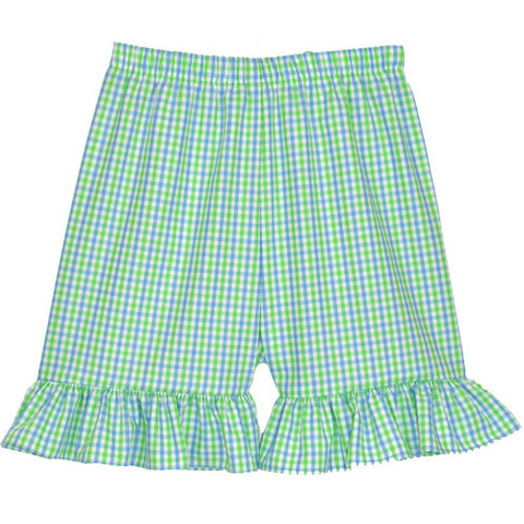 Blue/Lime Checks Ruffle Shorts