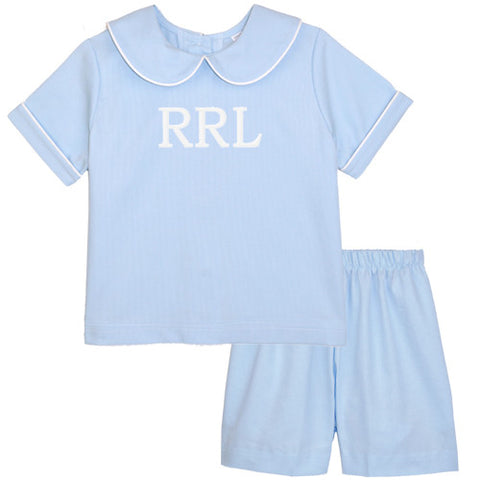 Blue Pique Boys Short Set