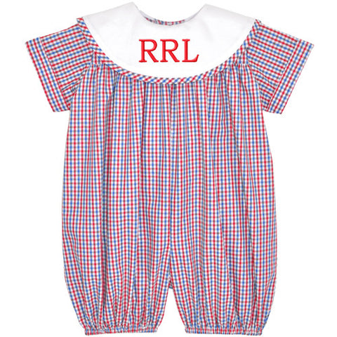 Blue/Red Tri-Color Checks Boys Bubble