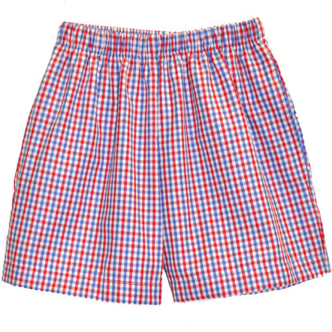 Blue/Red Tri Color Checks Shorts