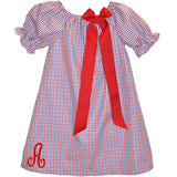 Blue/Red Tricolor Checks Puff Sleeve Peasant Dress