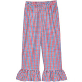 Blue/Red Tri-Color Checks Ruffle Pants