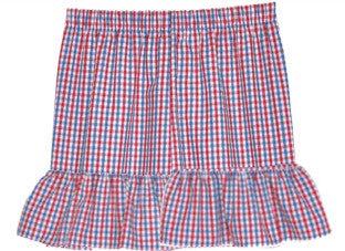 Blue/Red Tri-Color Checks Ruffle Shorts