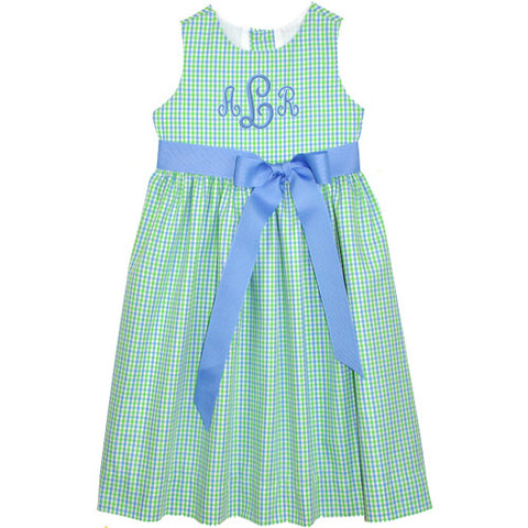 Blue/Lime Checks Picnic Dress