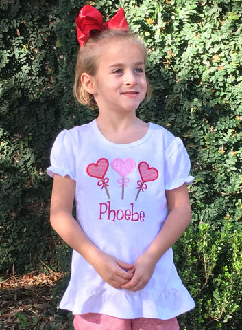 Applique Hearts Ruffle Tee
