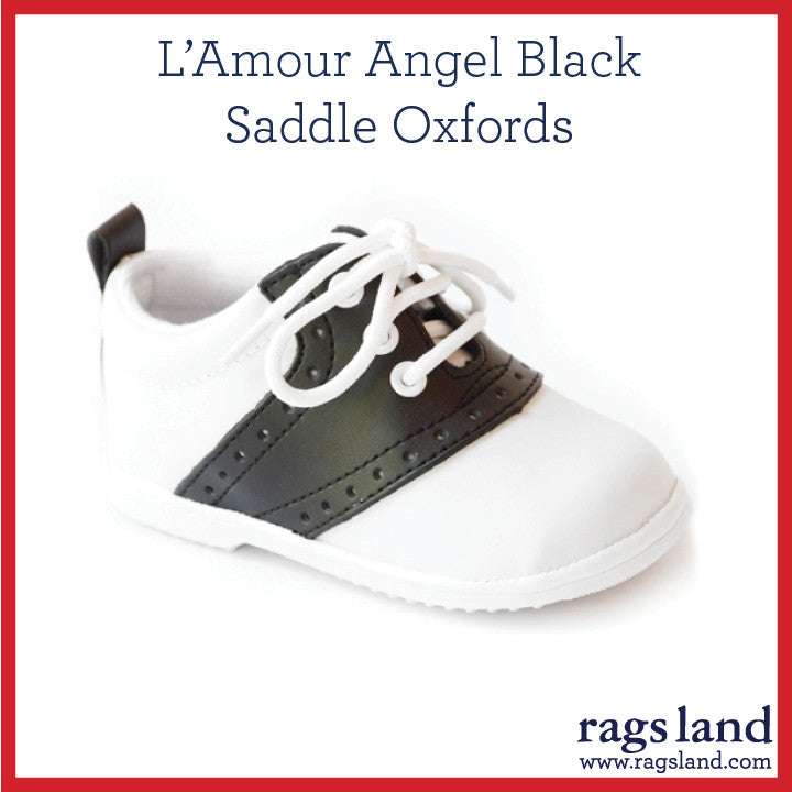 L' Amour Angel Black Saddle Oxfords
