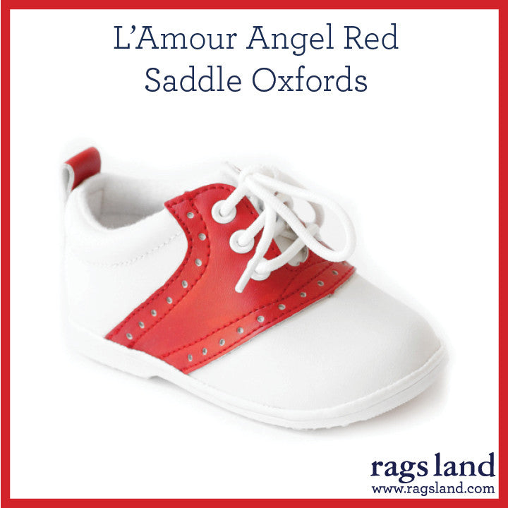 L' Amour Angel Red Saddle Oxfords