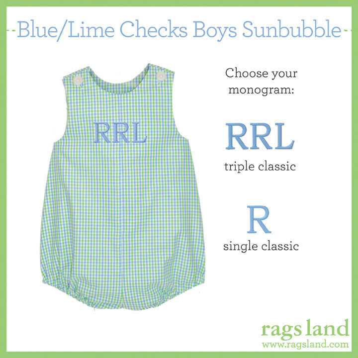 Blue/Lime Checks Boys Sunbubble