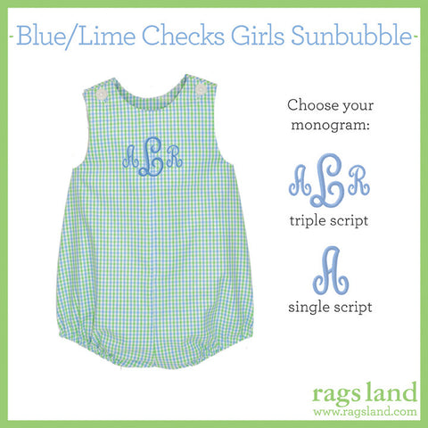 Blue/Lime Checks Girls Sunbubble