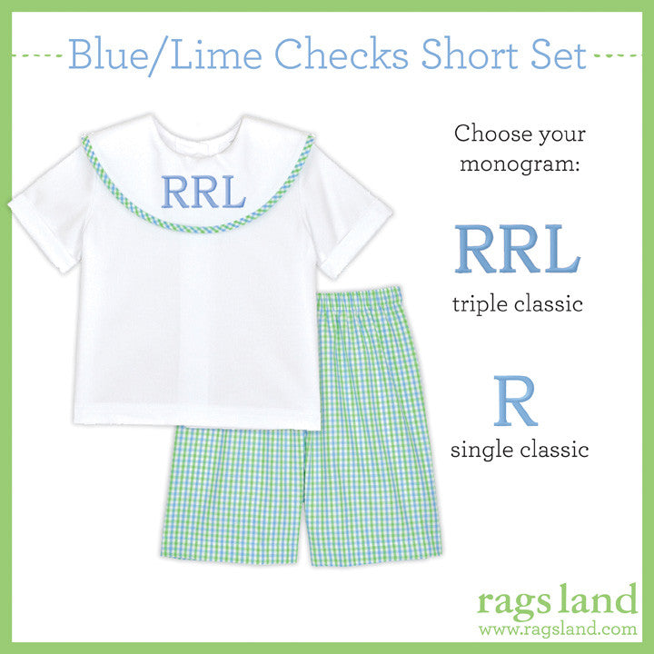 Blue/Lime Checks Dress Short Set