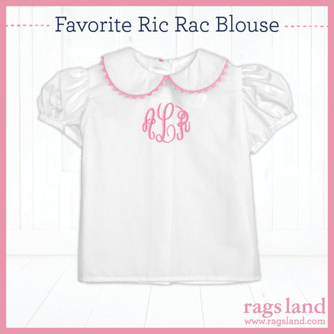 Pink Ric Rac Puff Sleeve Blouse