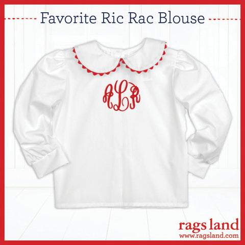 Red Ric Rac Long Sleeve Blouse