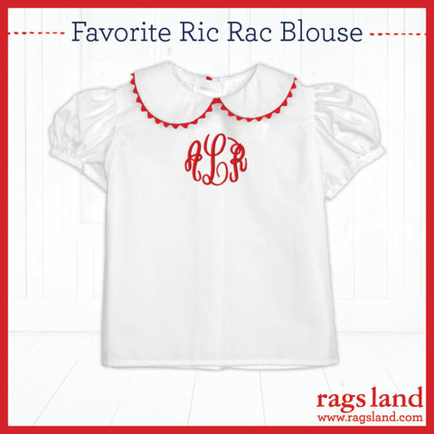 Red Ric Rac Puff Sleeve Blouse