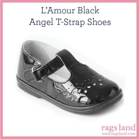 L' Amour Angel Patent Black T-Strap Shoes