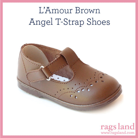 L' Amour Angel Brown T-Strap Shoes