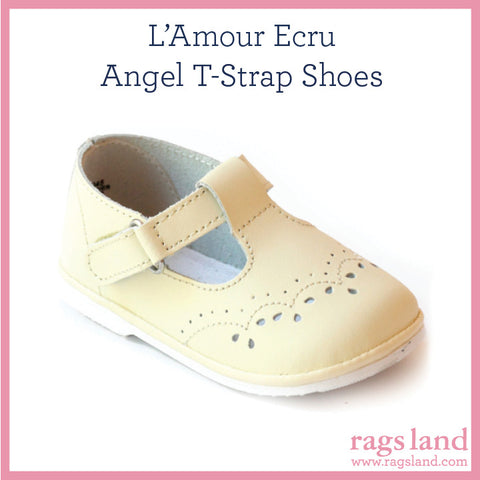 L' Amour Angel Ecru T-Strap Shoes