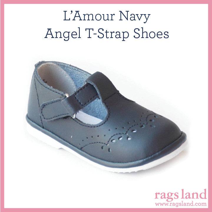 L' Amour Angel Navy T-Strap Shoes