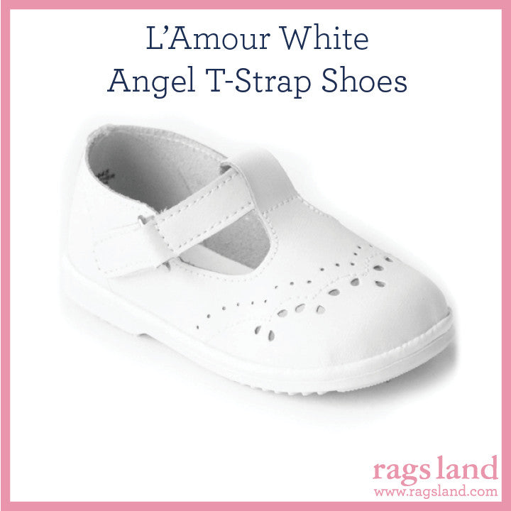 L' Amour Angel White T-Strap Shoes